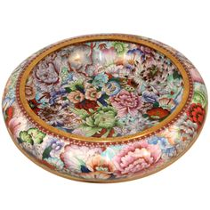 """21"""" Diameter Monumental Mid 20th Century Chinese Cloisonne Bowl   From a unique collection of antique and modern cloisonne at http://www.1stdibs.com/furniture/more-furniture-collectibles/cloisonne/"""