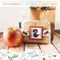 Sweet Sandwich Wraps for Lunch Box Notes created by designer Tiffany O'Grady using the Sweet Stamp Shop Super Boy stamp set #ssssuperboy