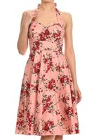 Pink Floral Halter Sundress with Red Roses