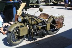 1942 Harley WLA (ridden in Europe in WWII) - these were carried at times on the fronts of half-tracks when not being ridden.