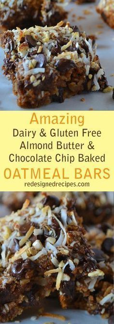 Almond Butter Chocolate Chip Baked Oatmeal Bars (Vegan, Dairy-Free, Gluten-Free, Peanut-Free) Almond Butter Chocolate Chip Baked Oatmeal Bars – A plant-based delicious breakfast - Delicious Vegan Recipes Gluten Free Sweets, Vegan Sweets, Gluten Free Baking, Healthy Sweets, Dairy Free Recipes, Healthy Baking, Healthy Snacks, Healthy Recipes, Lactose Free Desserts