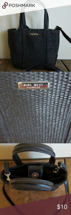 Nine West Mini Crossbody Black Nine West weaved Crossbody. 7 x 6 x Has removable crossbody strap to convert to handbag. In excellent used condition. Nine West Bags Crossbody Bags Nine West, Crossbody Bags, Mini, Sweet, Black, Candy, Black People