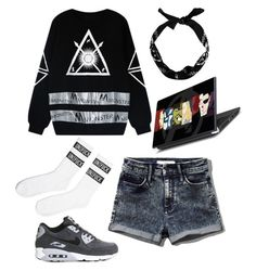 """Untitled #1385"" by evil-maknae ❤ liked on Polyvore featuring UNIF, Chicnova Fashion, Abercrombie & Fitch and NIKE"