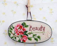 Beauty is everywhere! Embroidered & Cross-stitched vintage tablecloth wall art inspiration! DIY thread and thrift * Hand embroidered * embroidery hoop art * Perfect use of vintage fabrics!! Inspiring  Happiness one stitch at a time!