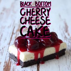 Choc crust, vanilla cheesecake and stewed cherries.