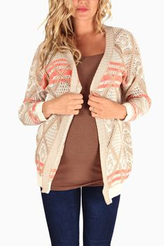 Cream-Neon-Pink-Accent-Knit-Maternity-Cardigan #maternity #fashion #cutematernityclothing #cutematernitytops #falloutfits #falltrends