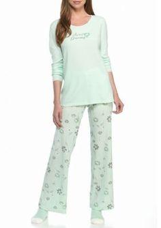 2c4fe2c60ac2 Hue Women s Sweet Dreams Thermal Pajama Set With Socks - Mist Green