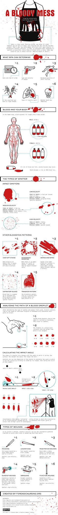 Detective Novelists: How Bloodstain Pattern Analysis Works (infographic)