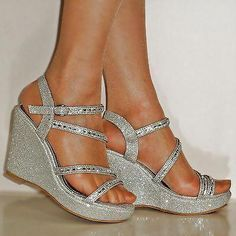 85ad8ac3d52e NEW DIAMANTE SILVER GOLD BLACK WEDGE MID HEEL PROM EVENING BRIDAL SANDALS  SIZE  Promheels Silver