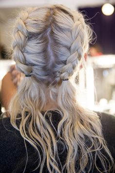 Two braids   french braids   Half updo   summer hairstyle   More on Fashionchick