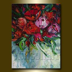 Floral Canvas Modern Flower Oil Painting Poppies by willsonart
