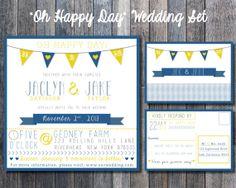 The Oh Happy Day Modern Wedding Invitation Set by hivehoney, $20.00