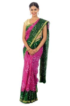 Dark Pink Banya Silk Shari Crafted with Bandhini Design Zari Border