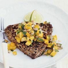 Seared Tuna Steaks With Papaya Salsa