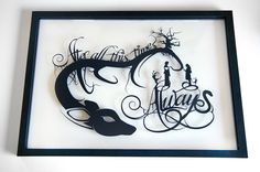 After all this time? Always. Snape and Lily - Harry Potter silhouette handcut paper craft in float frame from one black sheet  SIZE: 14x20 **Items are