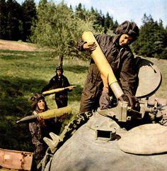 "partisan1943: ""Czechoslovak People's Army tank crew loading a T-55 tank. """