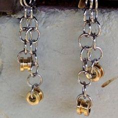 Recycled Bass Strings - Restored Bass String Dangle Earrings