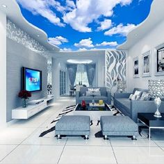 Custom Ceiling Mural Wallpaper Blue Sky And White Clouds Living Room Bedroom Ceiling Background Photo Wallpaper Wallcoverings(China) Cloud Ceiling, Roof Ceiling, Ceiling Murals, Bedroom Ceiling, Living Room Bedroom, 3d Wall Murals, Wall Art, Bedroom Wall, 3d Wallpaper Ceiling