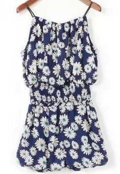 Blue Spaghetti Strap Floral Top With Elastic Shorts pictures