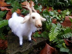 Needle Felted Goat  Poseable Soft Wool Sculpture by MyBuddyBling