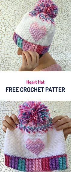 Heart Hat Free Crochet Pattern #crochet #yarn #crafts #style #fashion