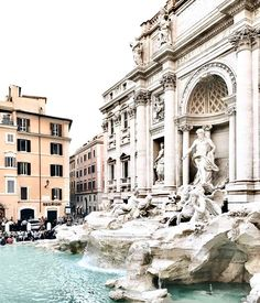 The Trevi in Rome is surrounded by a stone plaza and baroque fountain. We think this is such an elegant wintery color palate for inspiration with ivory silver and aquamarine. Oh The Places You'll Go, Places To Travel, Travel Destinations, Places To Visit, Travel Around The World, Around The Worlds, Rome Attractions, Seen, Rome Travel