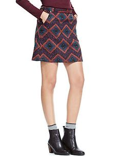 Buttonsafe™ Jacquard A-Line Mini Skirt