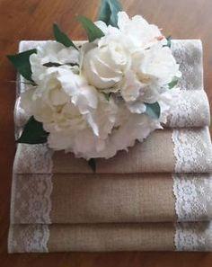 Burlap-Table-Runners-2-75mx30cm-Natural-Burlap-Jute-Hessian-Lace-Vintage-Wedding