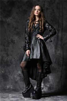 JW096 Gothic leather dovetail robe jacket with eyelets cap