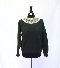 Vintage Retro 1970s Glengair Edinburgh Scottish Knit Shetland Wool Sweater Green Small Hipster Ski Sweater Nordic Scandinavian Sailor