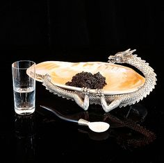 Silver Plated Dragon & Kabibi Shell Dish by De Nacre et D'Orient for serving caviar At Home Furniture Store, Luxury Home Furniture, Sturgeon Fish, Its A Mans World, Caviar, Small Gifts, The Hamptons, Luxury Homes, Shot Glass