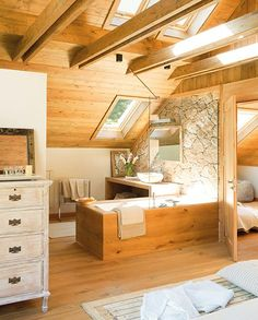 Architecture – Enjoy the Great Outdoors! Cabin Bathrooms, Ideal Bathrooms, Attic Bathroom, Bathroom Interior, Bathroom Ideas, A Frame Cabin, A Frame House, Design Case, Cabin Homes