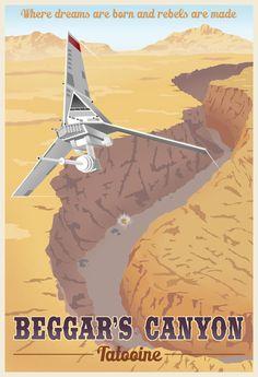 Star Wars Travel Poster Series by Steve Thomas