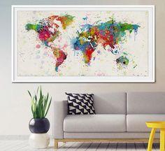 Blank White World Map Blue Seas Giant Wall Art Poster Print