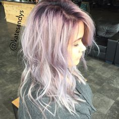 Lavender silver hair with a purple root shadow