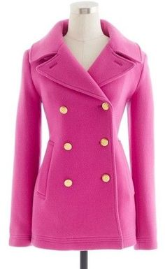 5. Pink Pea Coat - 9 Prettiest Pink Coats of The Season ... | All Women Stalk