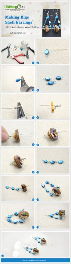 Making Blue Shell Earrings with Heart-Shaped Wood Buttons
