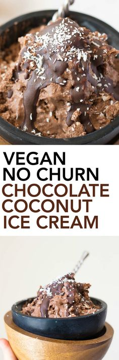 Vegan No Churn Chocolate Coconut Ice Cream (& Hot/Cold Date Night In): this healthy ice cream is made up of only 6 ingredients! It's date-sweetened and paired with a healthy magic chocolate shell that hardens on top! || fooduzzi.com recipe