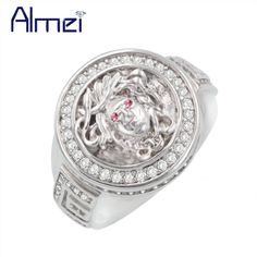 Almei 5%Off Silver Color Medusa Rings Women Punk Anel Antique Face Ring with Pink Stone Vintage Crystal Jewellry Gifts Y157