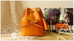 New Deisgn - Leather Tote Bag - Shoulder Bag - Handbag in Yellow Brown. $139.00,