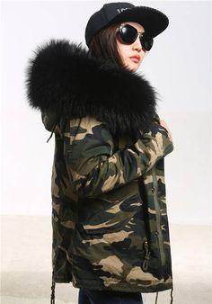 Furlove New 2016 chaqueta de invierno para mujer ejército verde grande Real  Fox Fur Collar con ed4810e2de57