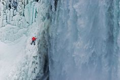 On January Canadian ice-climber Will Gadd scaled a frozen section of Niagara Falls. Then he climbed it twice more, at one point climbing a portion of ice wall behind the thundering cascade of water. Best Places To Travel, Great Places, Ice Climber, Fall Video, Ice Photo, Timeline Cover Photos, Water Pictures, Yosemite Falls