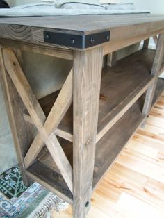 Diy Rustic X Console Table ~ built from 2x6s, 2x4s, 2x2s, and 1x12s using pocket hole construction and glue.