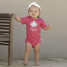 Baby Girls Personalized Hot Pink Cotton Onesie