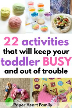 Busy Toddler Activities- Trying to find a way to keep your toddler busy and out of trouble? These toddler activities are fun and simple, and perfect for your 1 or 2 year old. Get ideas for independent toddler play, toddler learning activities and more!