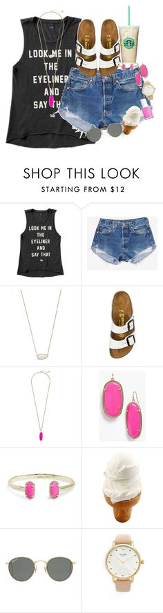 """""""look me in the eyeliner and say that"""" by smbprep ❤ liked on Polyvore featuring Urban Decay, Kendra Scott, Birkenstock, Ray-Ban, Kate Spade and Essie"""