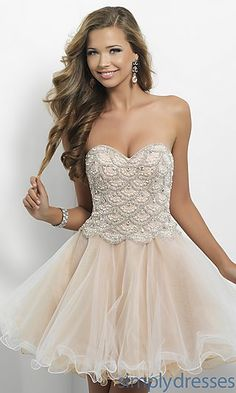Short Strapless Champagne Babydoll Dress at SimplyDresses.com