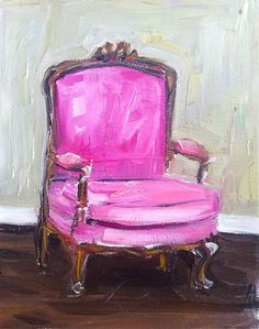 Chair Painting Pink by DevinePaintings on Etsy, $88.00