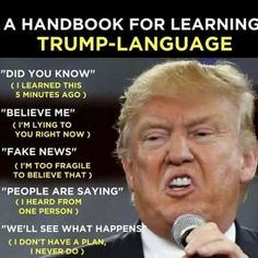 How to decipher the verbal desentery that spews, non-stop, out of mr. moron's mouth. Political Quotes, Political Cartoons, Political Satire, Trump Cartoons, Republican Party, Humor, Shit Happens, Sayings, Anti Trump Meme