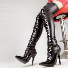 139.00$  Buy now - http://alipko.worldwells.pw/go.php?t=32226818526 - Thigh High Black Latex Back Lace Up with 4 inch high heel fetish latex rubber boots